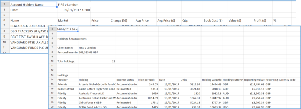 my investment tracking spreadsheet fire v london